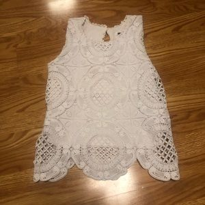 Target thick lined white chunky lace tank top